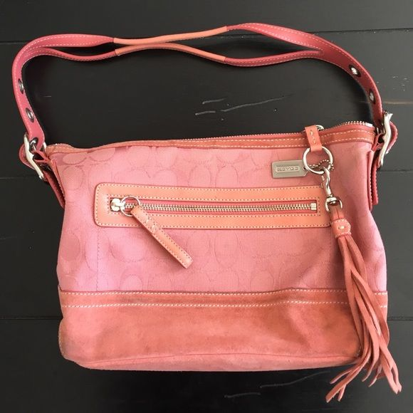 """Authentic Pink Coach Purse Authentic Rare pink/salmon color Coach purse. Suede bottom shows some wear but still in great condition.  Approx 11""""x8"""". Strap drop approx 8"""". Coach Bags"""