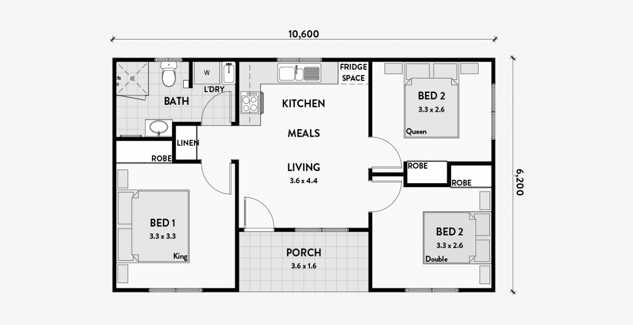 Geranium 2br 60m2 Granny flat, Flat plan