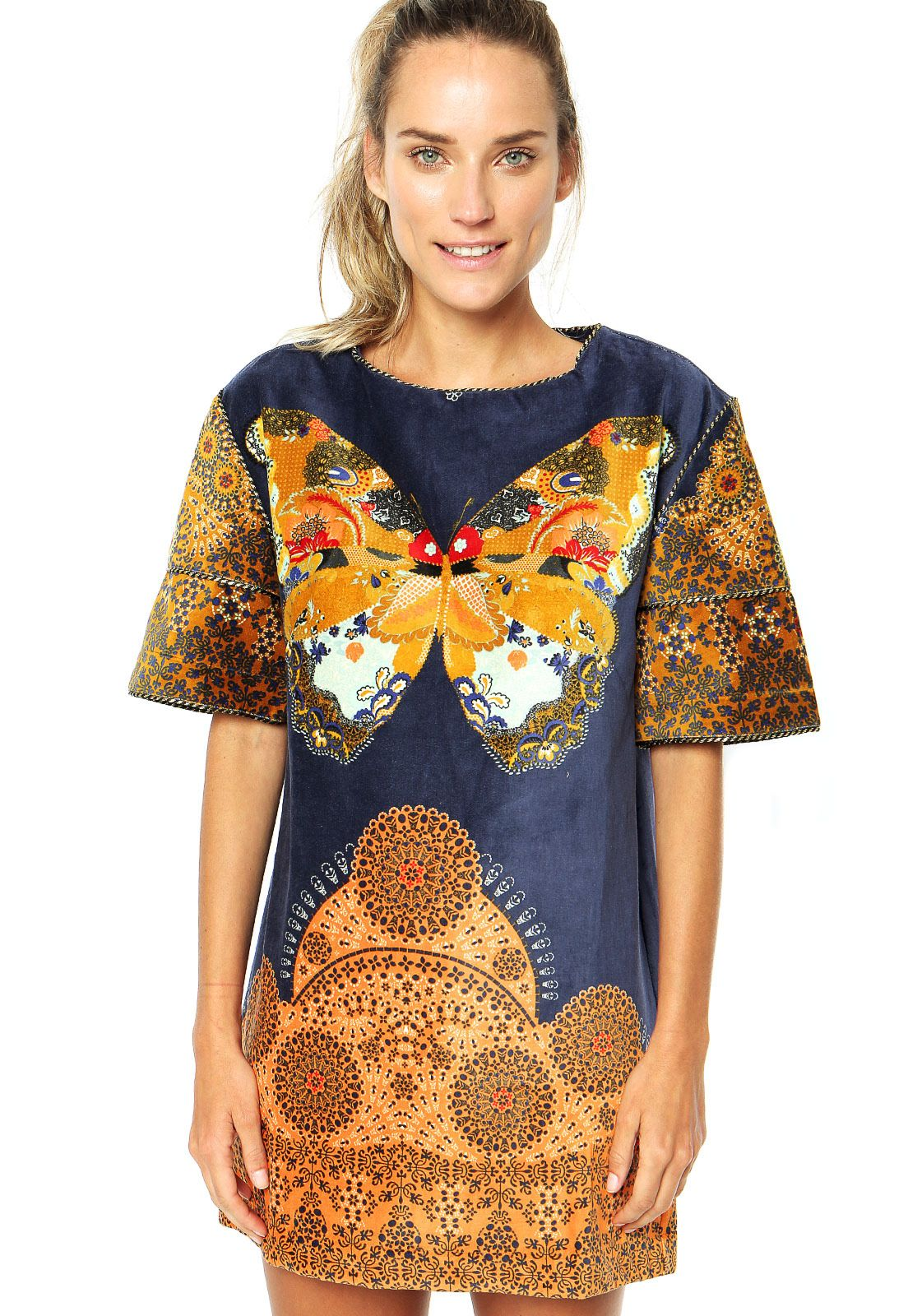 Vestido FARM Azul - Compre Agora | Dafiti Brasil
