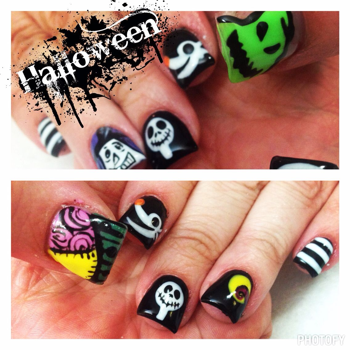 Nightmare before Christmas nails | ALL THINGS DISNEY !!!!!! | Pinterest