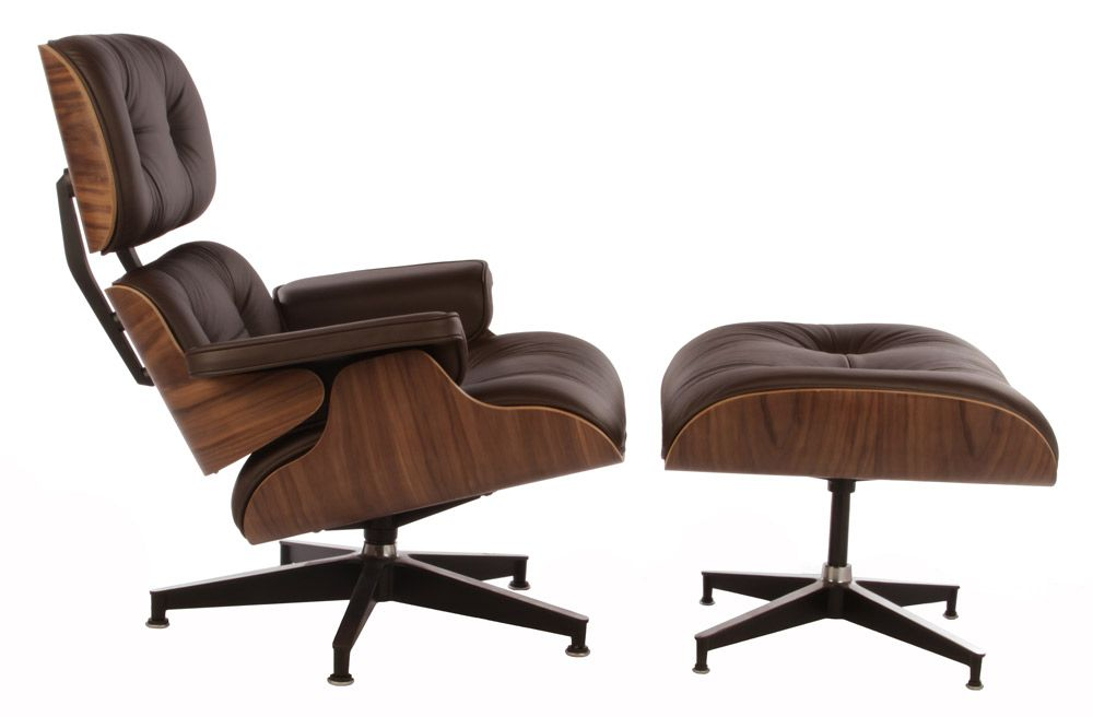 Replica Eames Premium Lounge Chair And Ottoman Walnut Chocolate