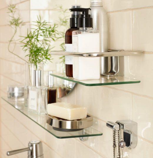 tablettes en verre et mur carrel de blanc id es d cos pinterest tablette en verre. Black Bedroom Furniture Sets. Home Design Ideas