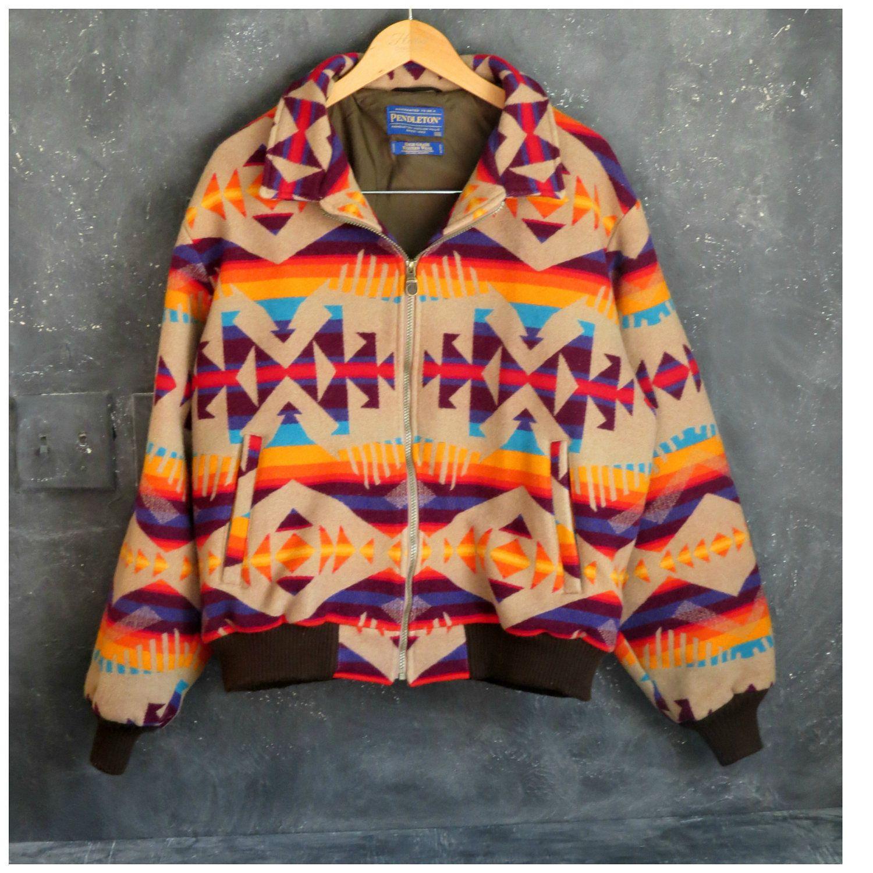 369df04acc 80 s Pendleton Blanket Jacket. Tan Indian Blanket Wool Coat. Men s  Pendleton Jacket. Size XXXL.