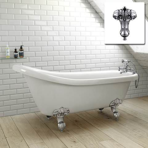1550mm Small Victoria Traditional Roll Top Slipper Bath With Ball Feet