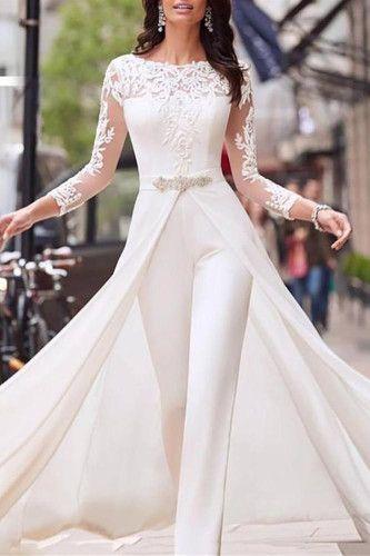 Fashion Stitching Long Sleeve White Lace Jumpsuit