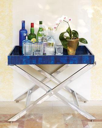 blue bar tray table