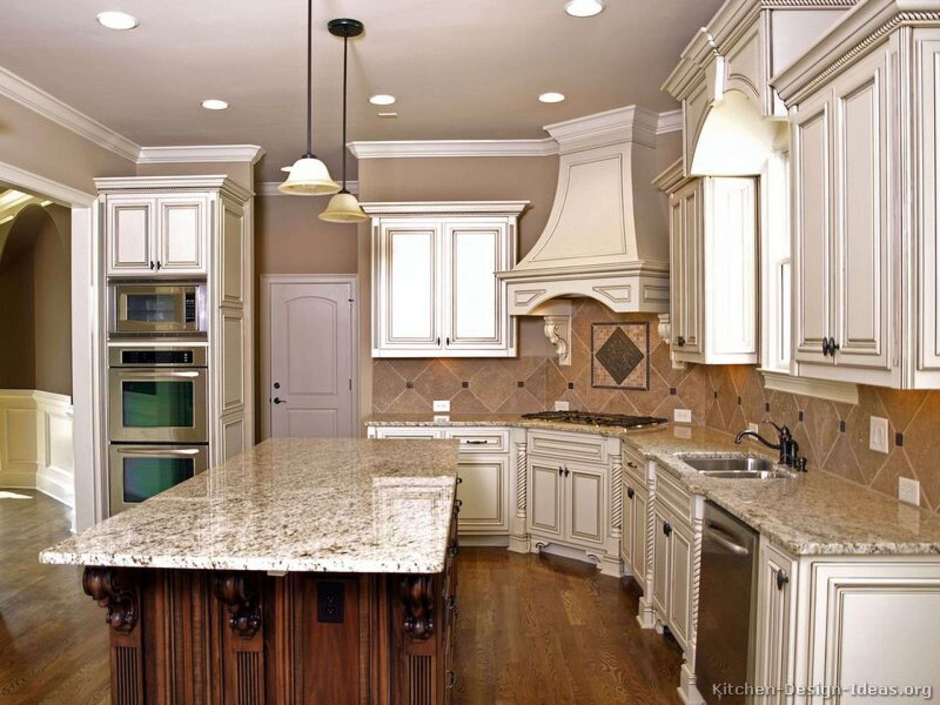 Fancy White Wooden Custom Handmade Chimney Hood And White Polished Feat Walnut Two Tone Antique White Kitchen Glazed Kitchen Cabinets Antique Kitchen Cabinets