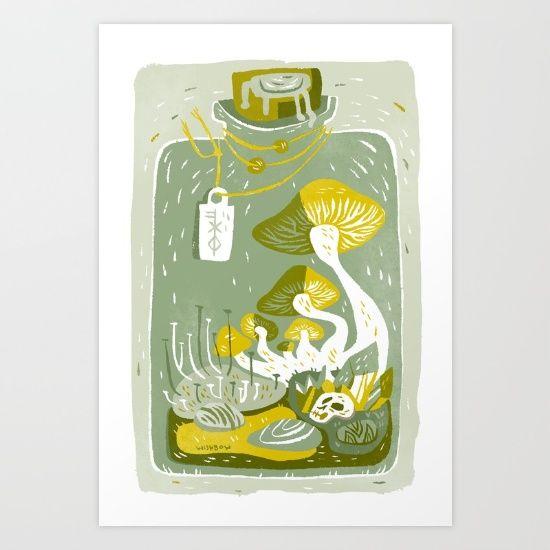 Mushroom+Terrarium+Art+Print+by+Pam+Wishbow+-+$20.00