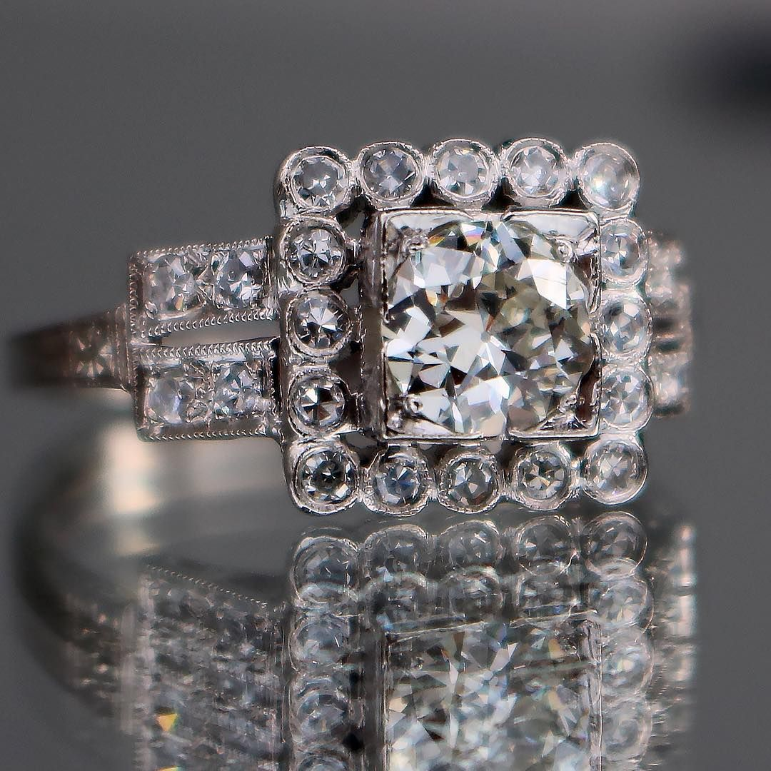 Almost 100 Years Old And Just Introduced To Our Showroom Today This Breathtaking Art Deco Diamon Antique Engagement Rings Art Deco Diamond Rings Fine Jewelry