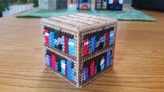 Minecraft Bookshelf in plastic canvas - free pattern at yarngames.com