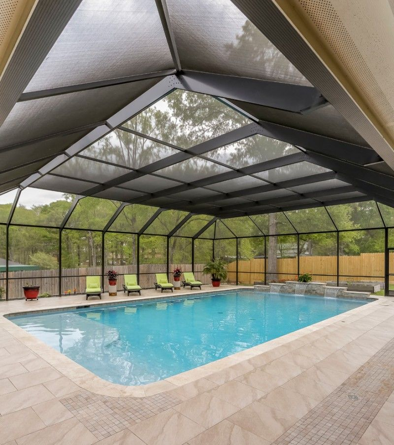 Contemporary Pool Enclosure For Patio Pale Marble Floors Green Pool Furniture Of Create A Stylish Functional Dip With The Swimming Pools Pool Pool Enclosures