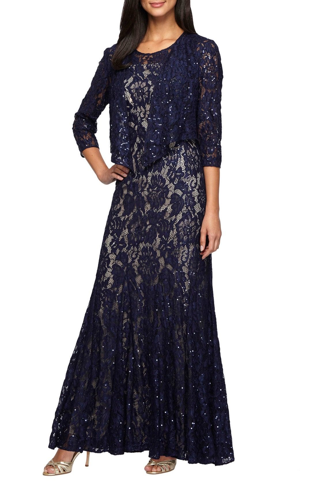 Alex Evenings Lace Gown with Jacket available at #Nordstrom | groom ...