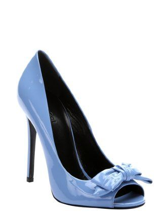 Gucci mineral blue patent leather bow detail open toe pumps IN BLUE HOT- SPRING!!