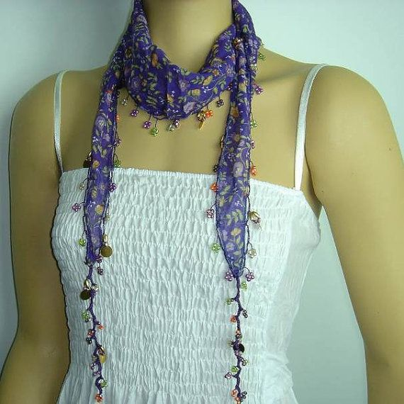 Purple Beaded Scarf Necklace with Orange Flowers by istanbuloya