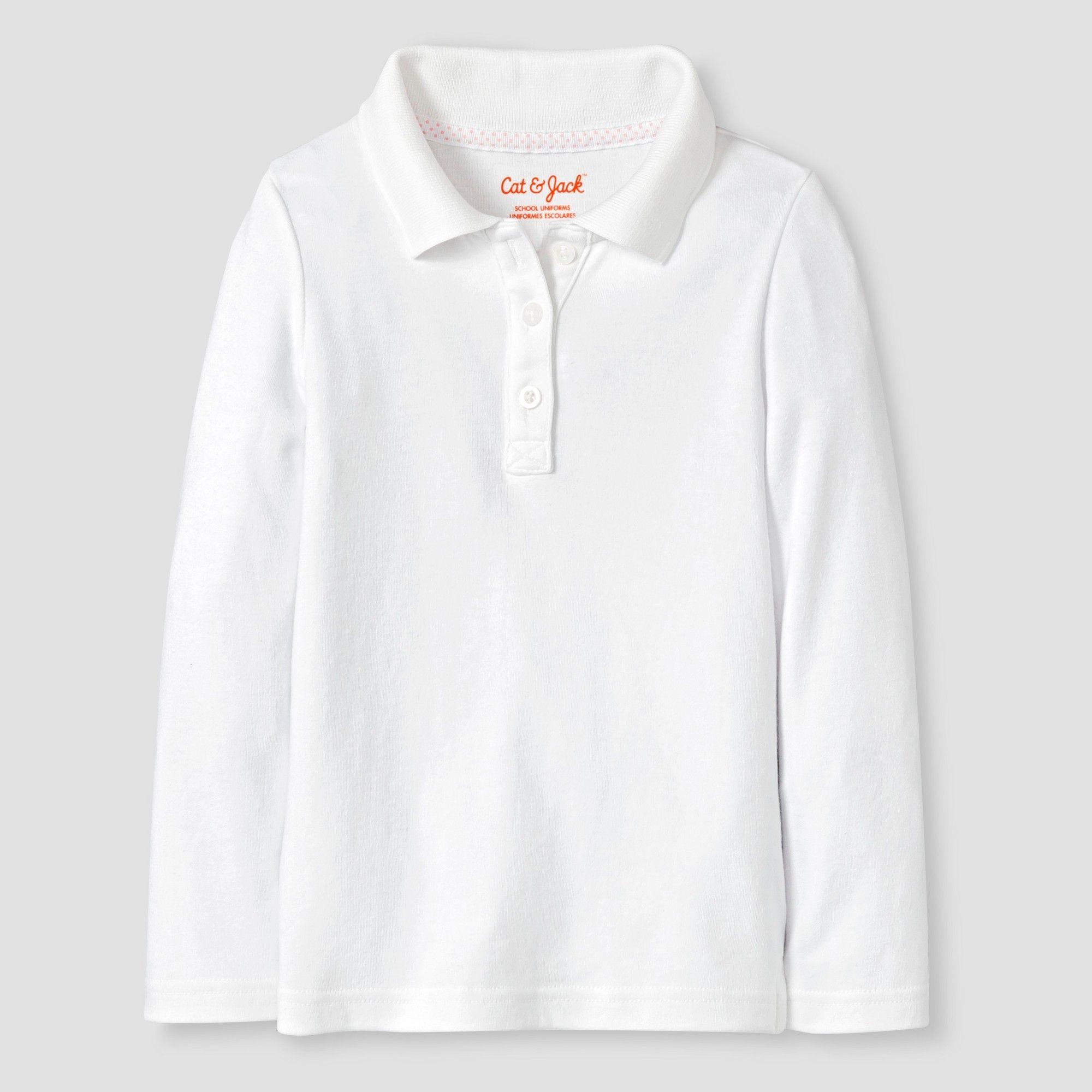 cc74d20c1 Toddler Girls' Long Sleeve Interlock Polo Shirt - Cat & Jack White ...