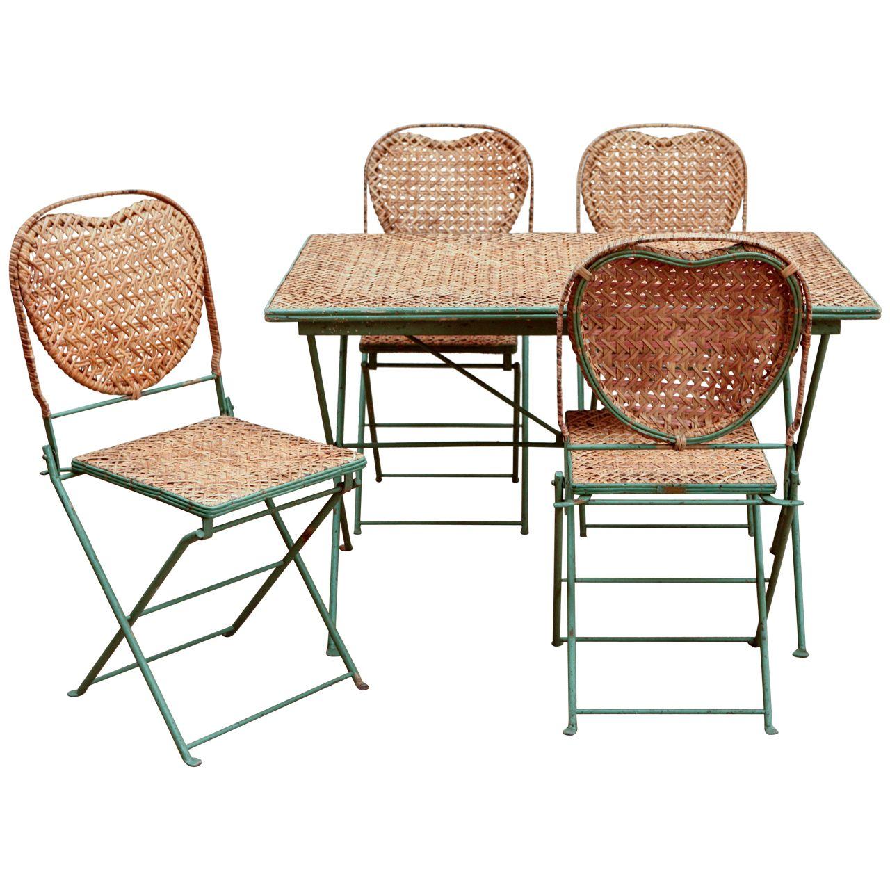 Vintage Rattan Garden Table Set