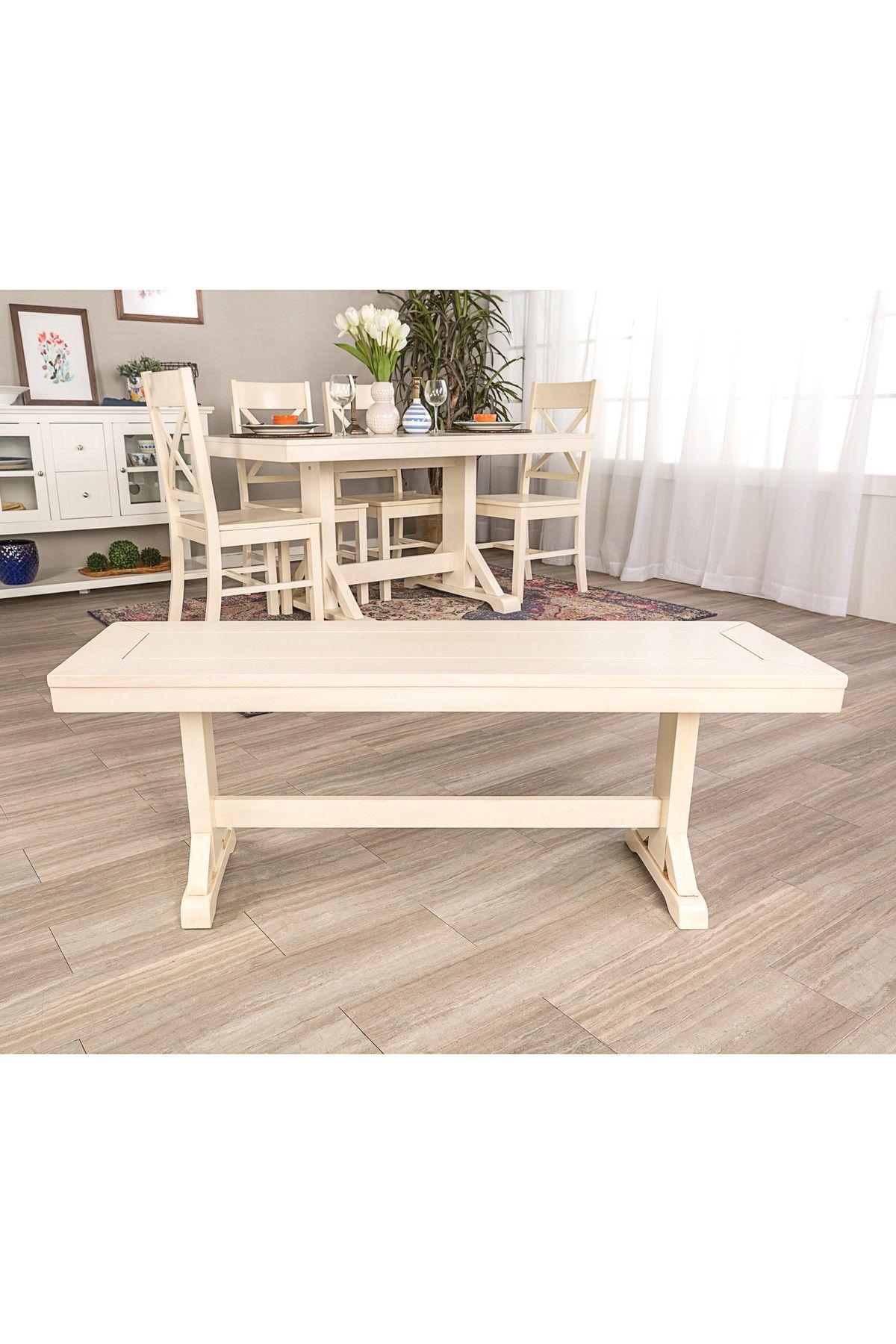 "Walker Edison Furniture pany 48"" Antique White Millwright Wood"