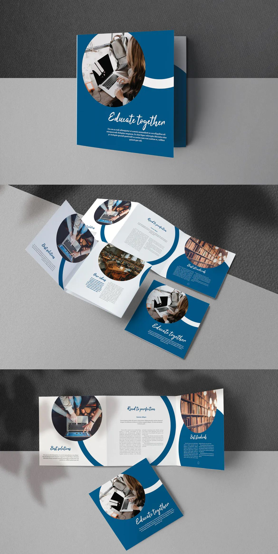 Education Square Trifold Brochure Template Brochure Design Template Business Card Design Trifold Brochure Template