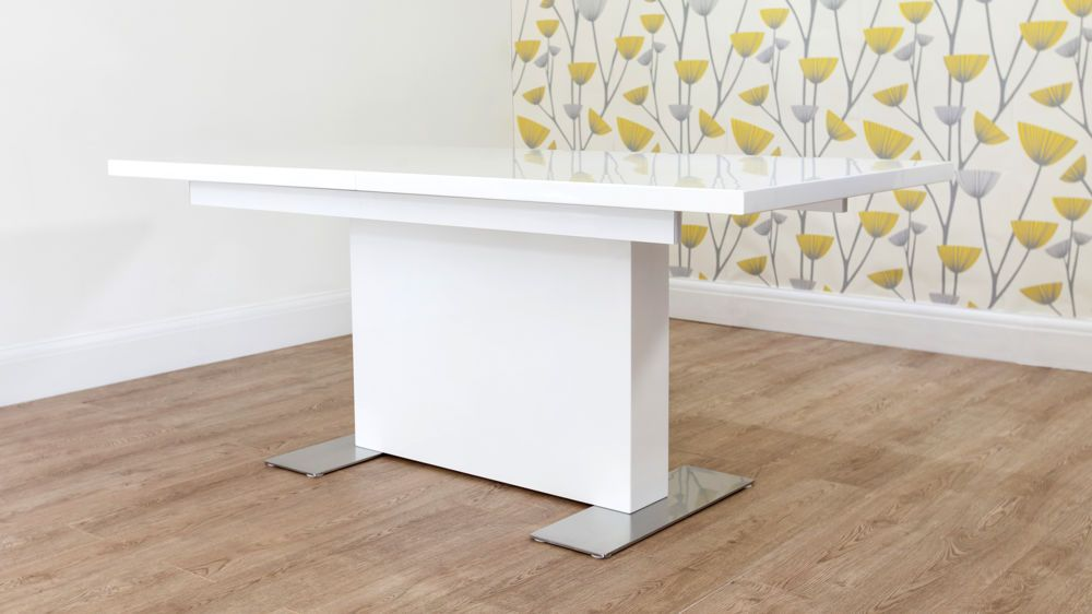 Sanza White Gloss Extending Dining Table  Dining Midcentury Interesting White Gloss Dining Room Table Design Ideas
