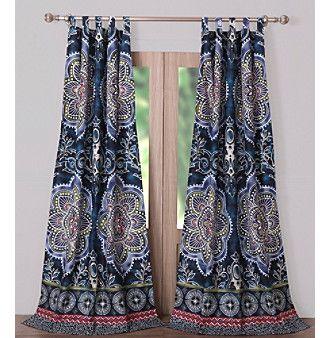 Batik Border Window Curtain Panels