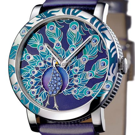 *BOUCHERON 'CRAZY JUNGLE' Watch* What Makes This A Truly SUPERLATIVE  WORK of ART is That the Rotary Motion Creates the Illusion That The Peacock is Actually Breathing !! Thus- this LOVELY PEACOCK Timepiece arouses aesthetic Emotions of a Kind Seldom Experienced! ..........at least not in a Piece of Jewelry!!