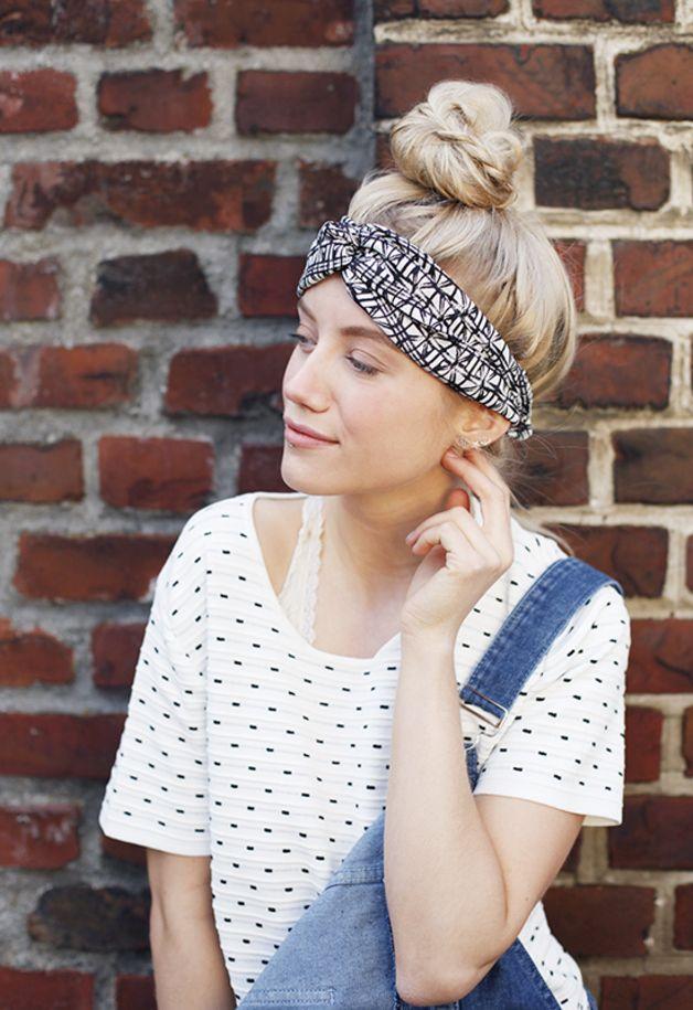 Haarband, Turban mit grafischem Muster // hair band, graphic pattern ...