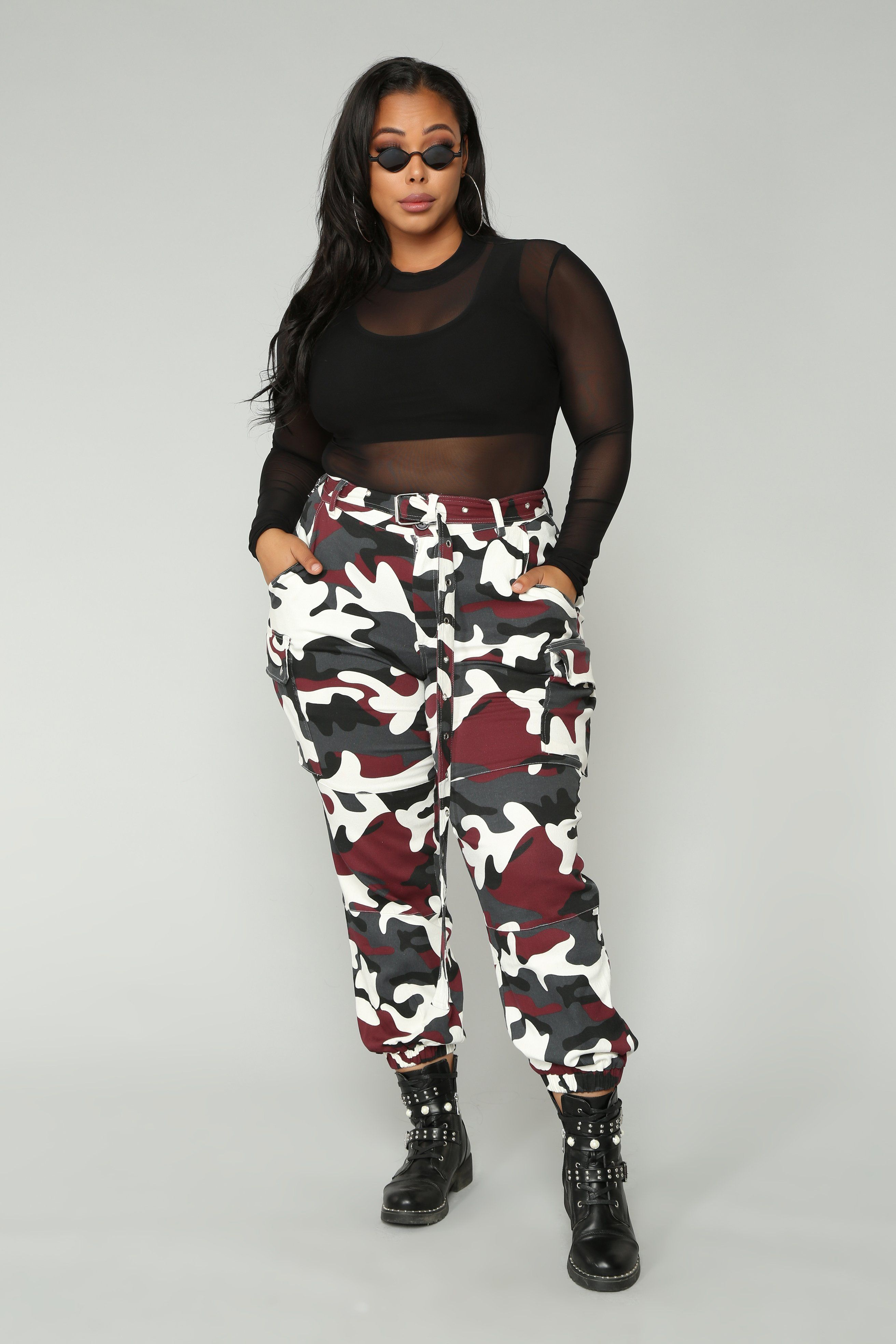 597d3948526 Plus Size Girls · Nova Nation Camo Joggers - Burgundy Camouflage Pants