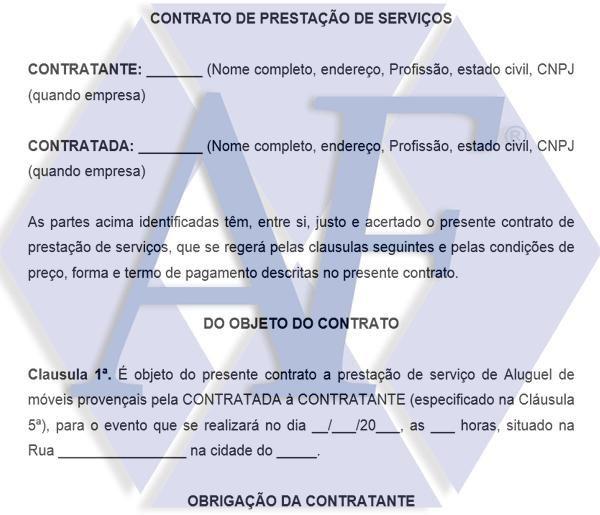 Modelo De Contrato De Prestacao De Servico De Locacao De Moveis