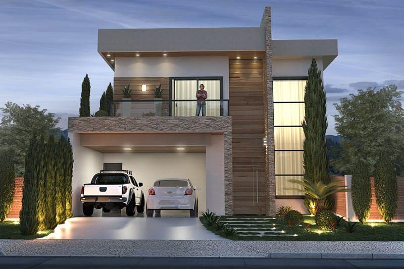 Plano de casa con fachada moderna prototipo pinterest for Modelos de casas con terrazas modernas