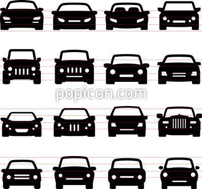 Car Icons Front Views Vector Icon Sets Car Vector Car App
