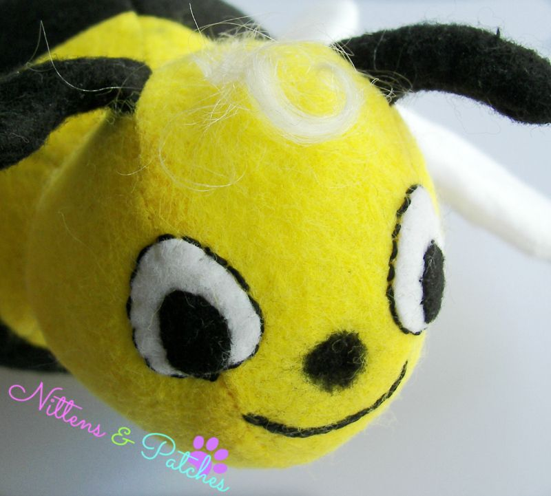 Bumblebee with needle felt nose & hair