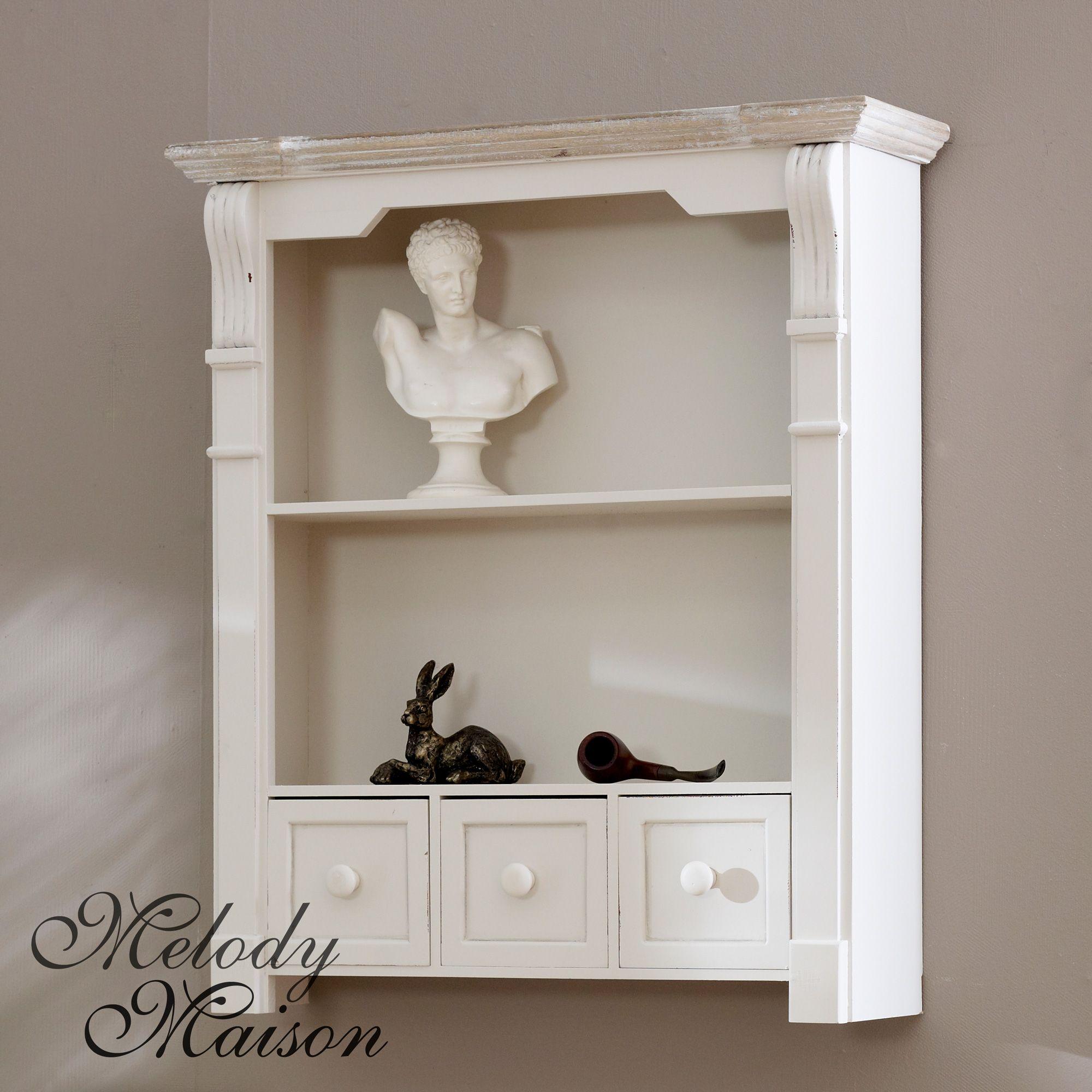 Cream Shelf Unit With Drawers Lyon Range Shabby Chic Style Wall Shelves Perfect