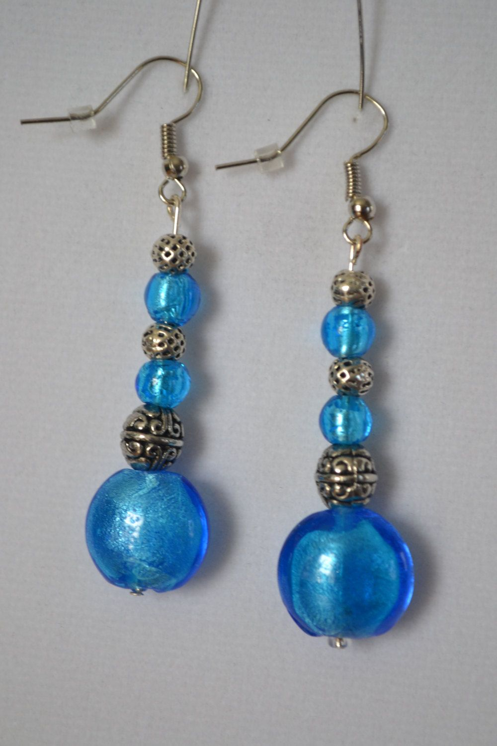 Blue and Antique Silver Earrings. by SKDesignsCo on Etsy