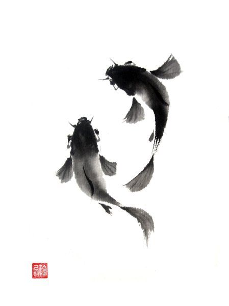 Magnificent Ink Painting With Koi Fish Only The Japanese Can Use A