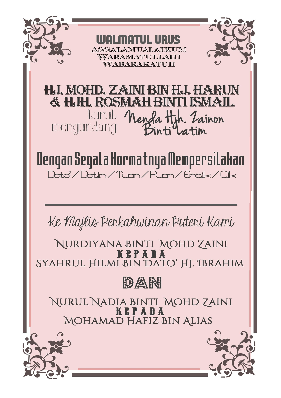 Wedding Card Design For Malay Page 2 Nadiasuchendesigns Weddingcard Malaywedding Custom Made Invitation Designs Contact Nadiasuchen Gmail