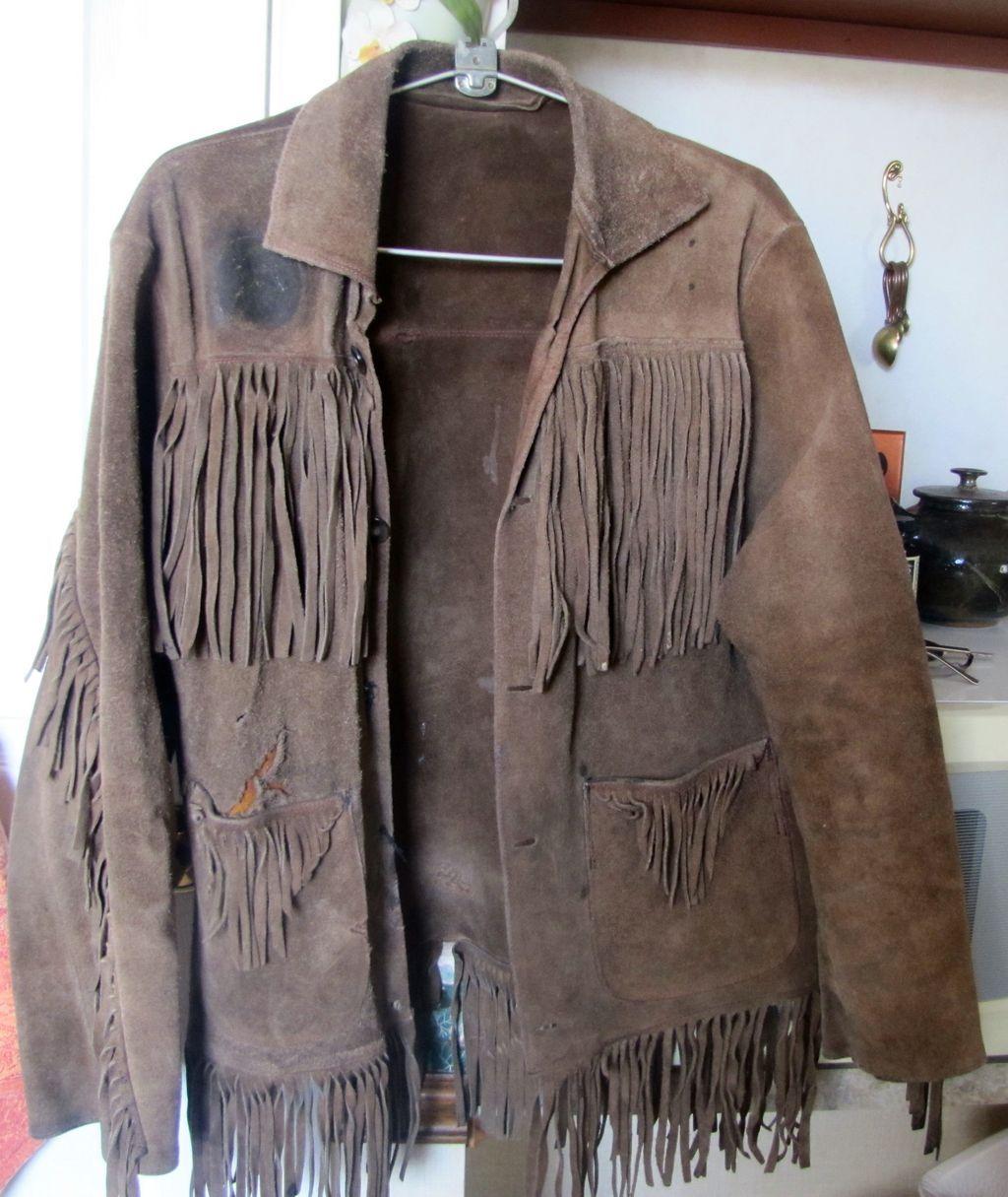Vintage AUTHENTIC BUCKSKIN Suede Jacket Coat Long Fringe