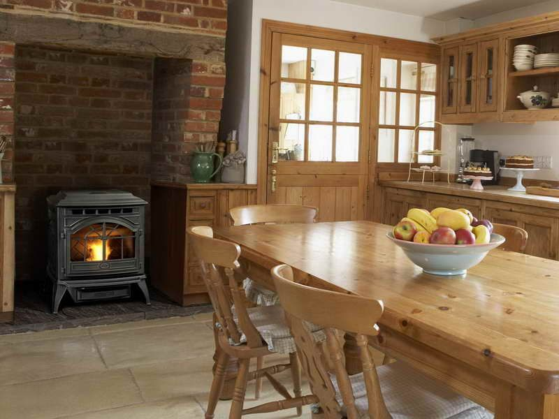Fireplace In A Kitchen Wood Burner Cozy Kitchen And Pellet Stove - Pellet stove or wood stove