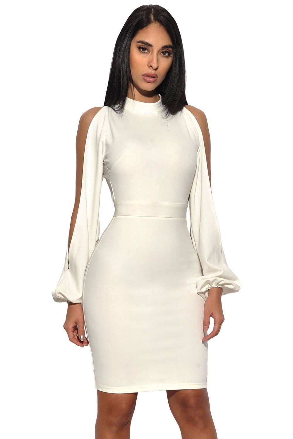 White cut out sleeve stretch crepe bandage party dress laveliq