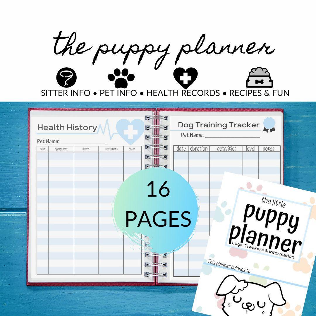 Puppy Planner Tracker for Pets, Pet Sitter Info, Pet