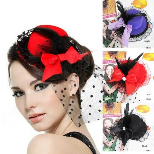 Cheap 2015 Fashion Red Purple Black Formal Party Cocktail Women Bow Feather Hair Clip Headwear Mini Top Hat Cap Fascinator Hair Accessories Online with $3.68/Piece on Sarahbridal's Store | DHgate.com