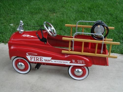 vintage fire truck pedal car i had one of these when i was a kid