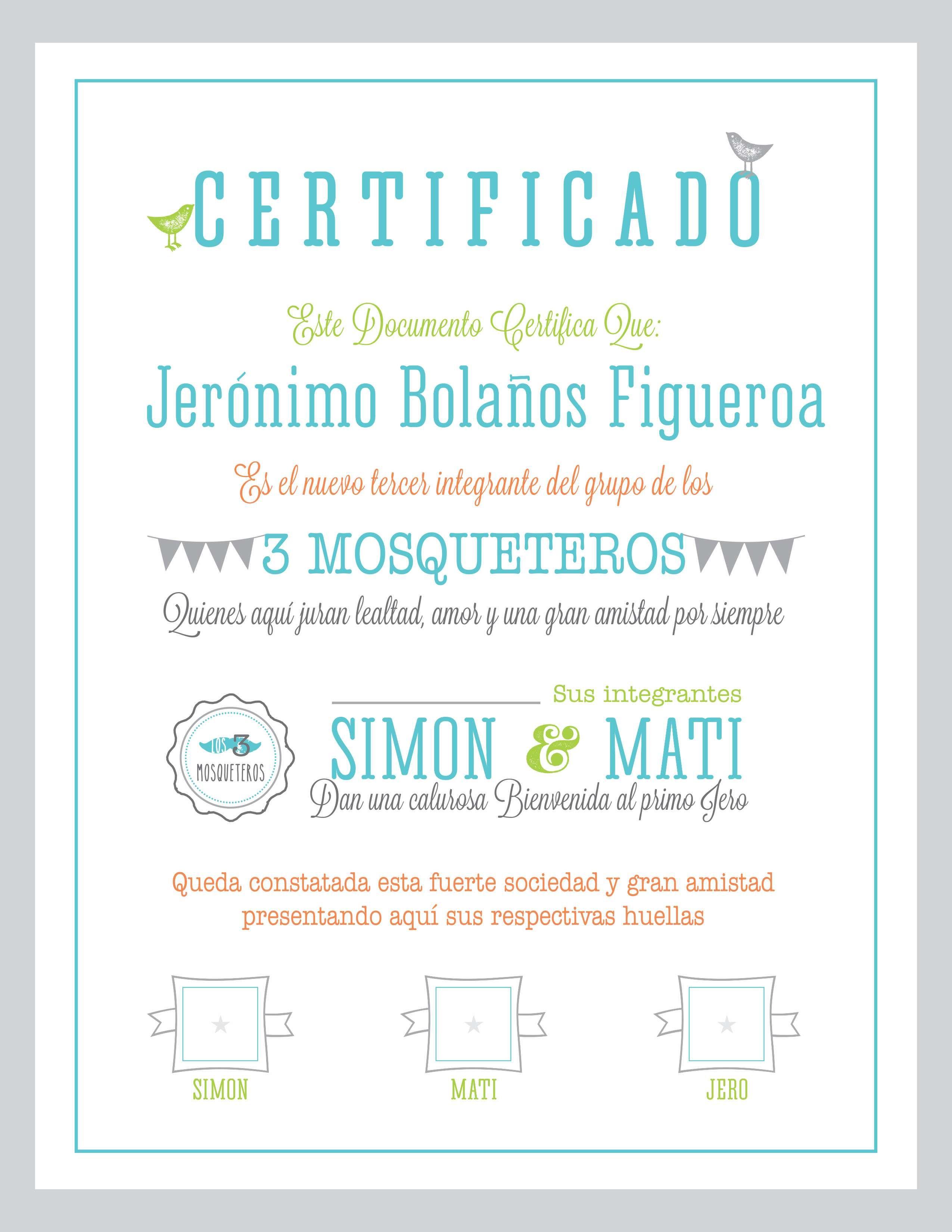 certificado de nacimiento- certifica que es miembro del grupo de 3 ...