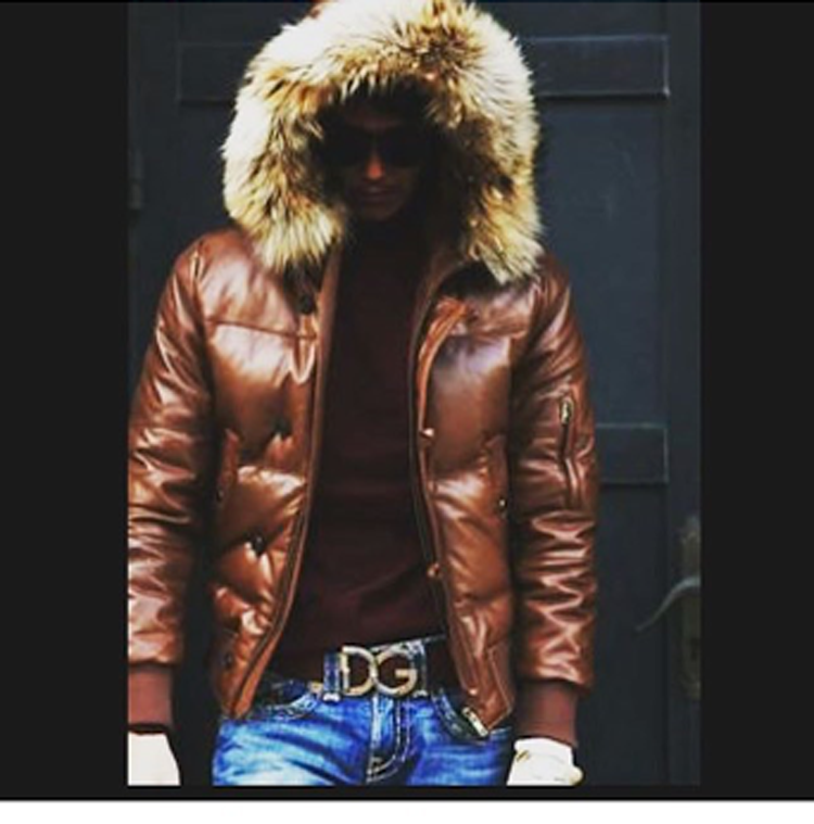 Mens Leather Jacket a Hooded Puffy style with Real Fur Trim ...
