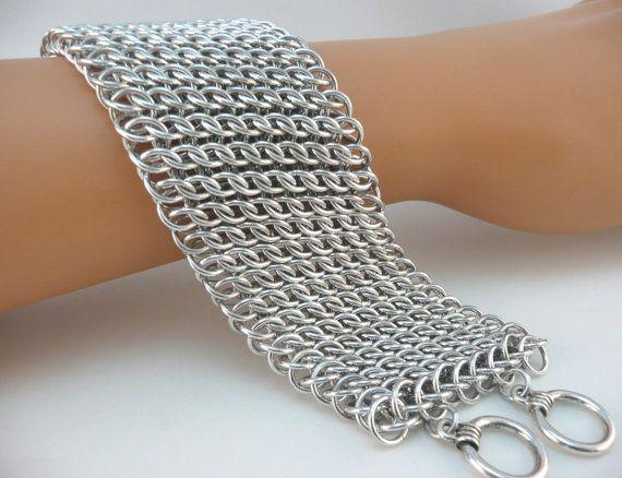 GSG hoja Chainmaille pulsera aluminio brillante por TheArmorersWife