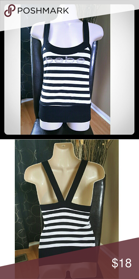 Bebe top Black and white BEBE top size M fits small with rhinestones logo bebe Tops Tank Tops