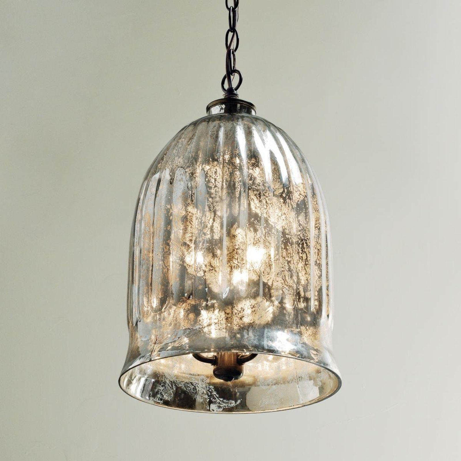 Antique Mirror Bell Pendant Lantern Bronze Mercury Glass Pendant Light Antique Mirror Lantern Pendant