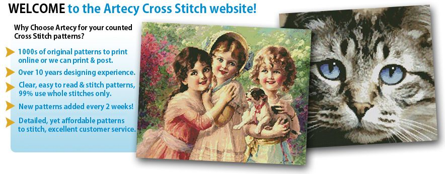 Artecy Cross Stitch - Artecy Cross Stitch is an online Cross Stitch Store. Patterns are offered for download or we can print and post the patterns to you. New patterns added fortnightly.