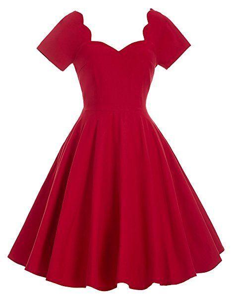 Vintage Retro Elegant Kleid Knielang Geburtstag Kleid Rot L ... 1e7a67acf2