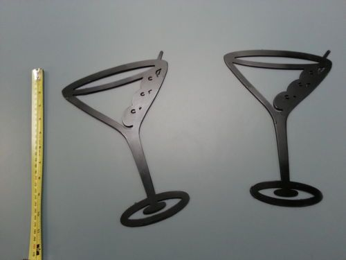 2 Metal Black Martini Gles Wall Art Decor Accent Contemporary Wine Plasma