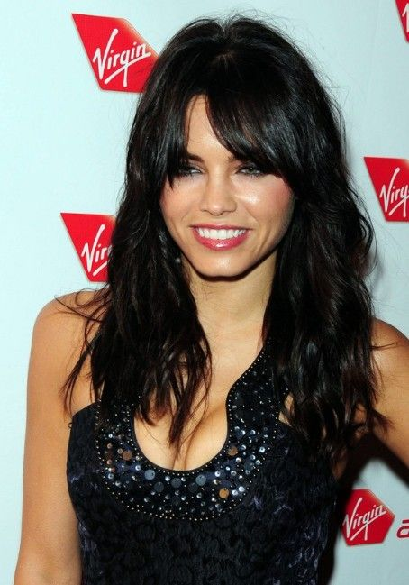 Long Black Hairstyle with soft curls and wispy bangs | Wispy bangs ...